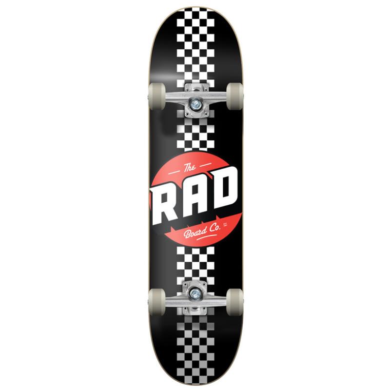 Rad Checker Stripe Progressive Complete Skateboard Black/White 8.0