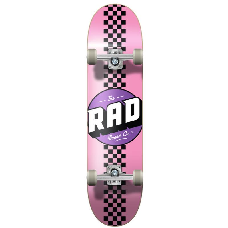 Rad Checker Stripe Progressive Complete Skateboard Pink/Black 7.75