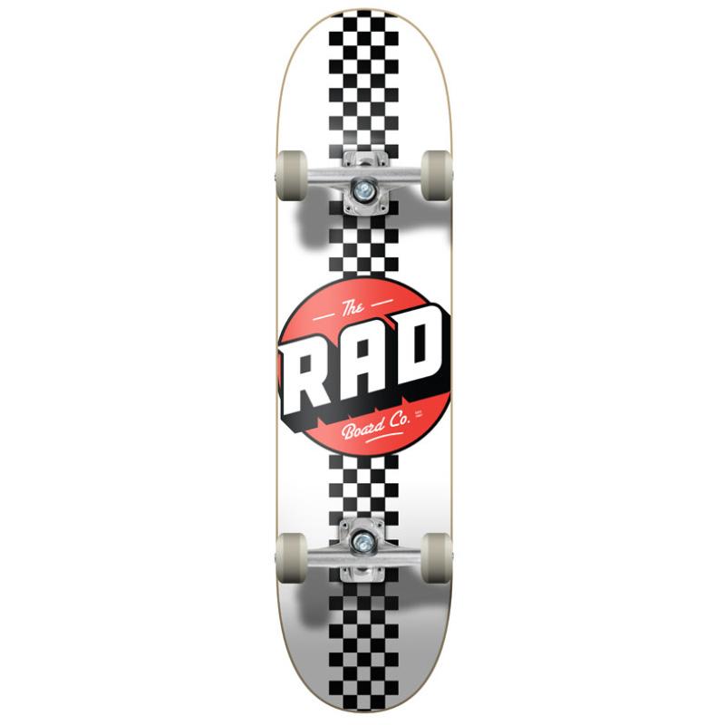 Rad Checker Stripe Progressive Complete Skateboard White/Black 7.75