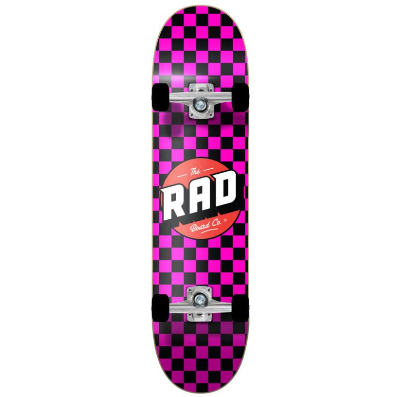 Rad Checkers Dude Crew Complete Skateboard Black/Pink 7.75