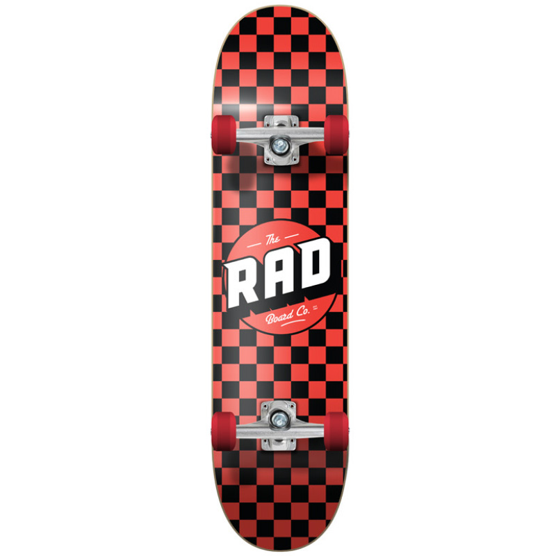 Rad Checkers Dude Crew Complete Skateboard Black/Red 7.75