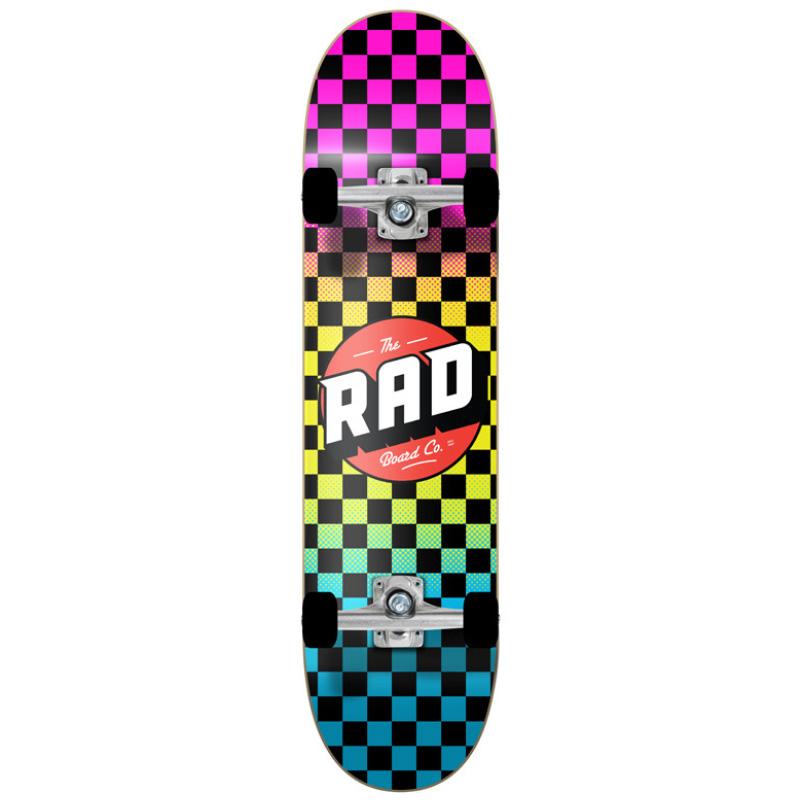 Rad Checkers Dude Crew Complete Skateboard Neon Fade 7.75
