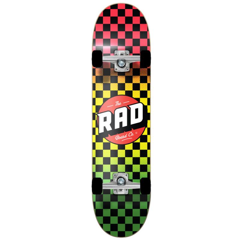 Rad Checkers Dude Crew Complete Skateboard Rasta Fade 8.0