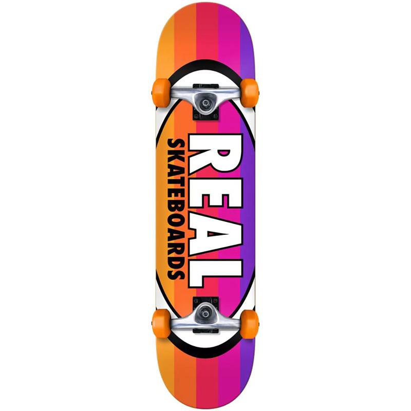 Real Oval Stripes Mini Complete Skateboard 7.38
