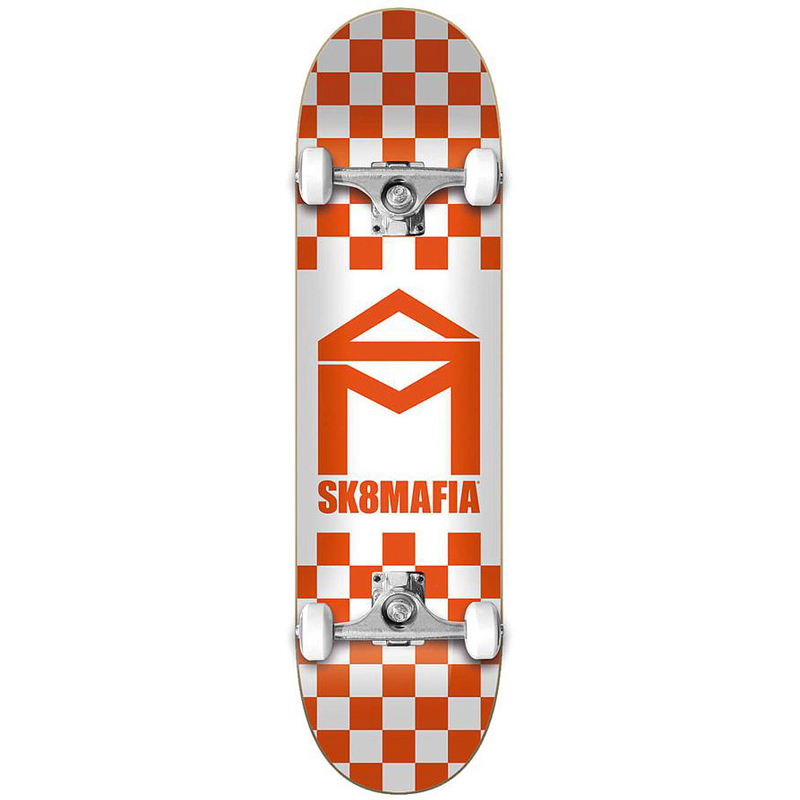 Sk8Mafia House Logo Checkers Complete Skateboard Orange 8.0