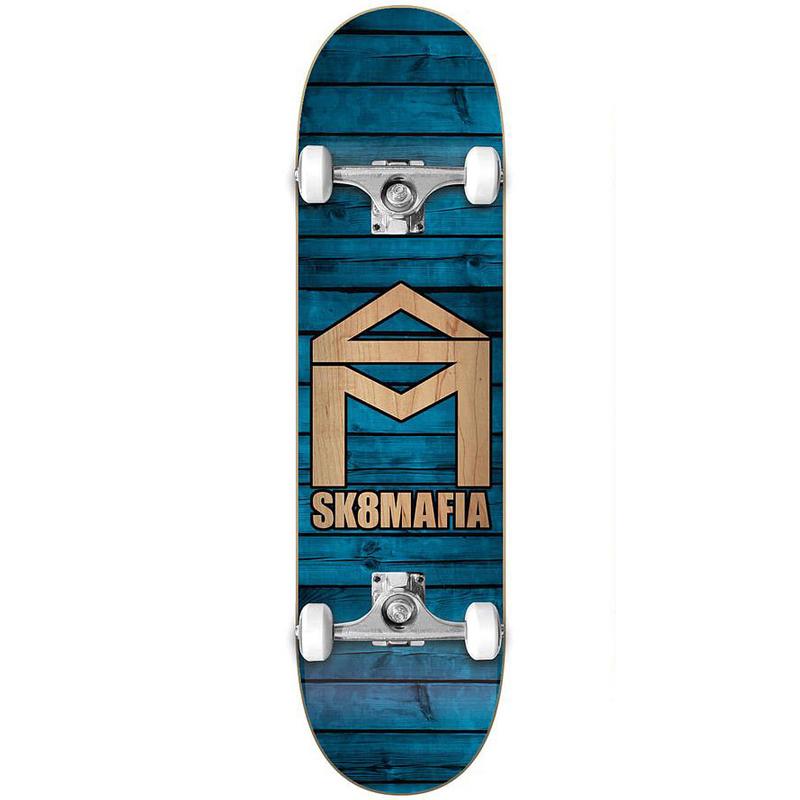 Sk8Mafia House Logo Wood Complete Skateboard Blue 7.87