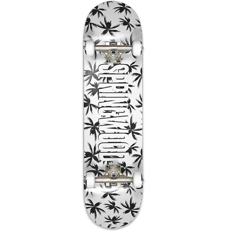 Springwood Palms Black White Complete Skateboard 8.125