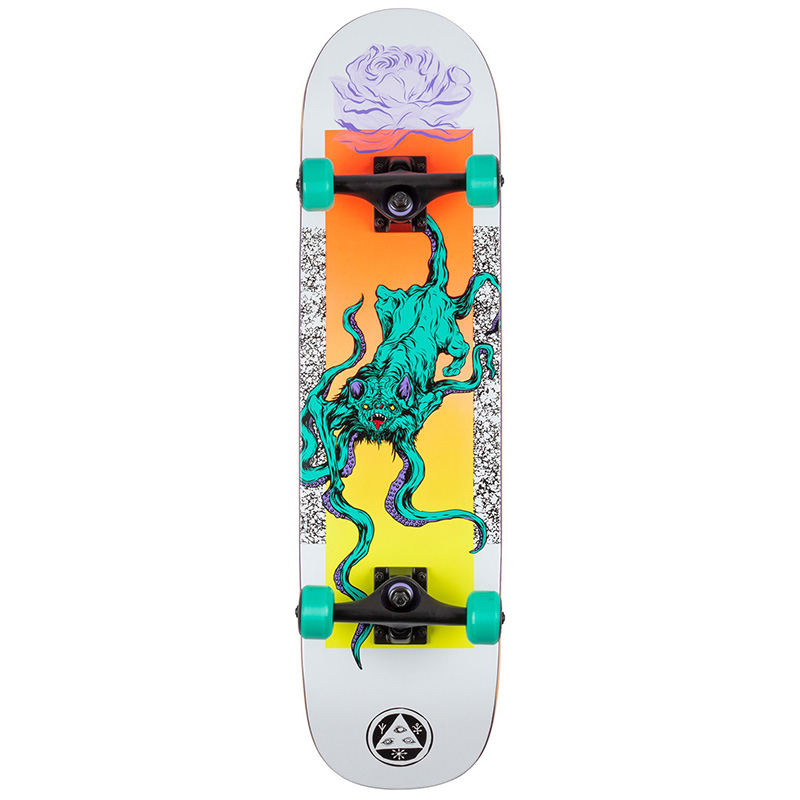 Welcome Bactocat on Bunyip Complete Skateboard White 8.0