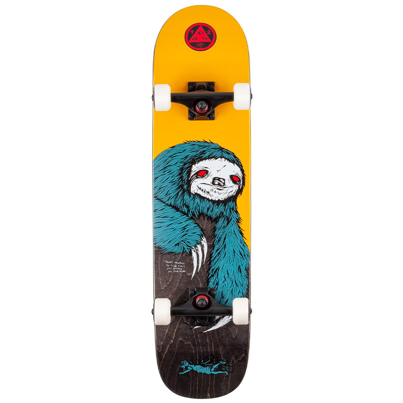 Welcome Sloth on Scaled Down Bunyip Complete Skateboard Gold/Black Stain 7.75