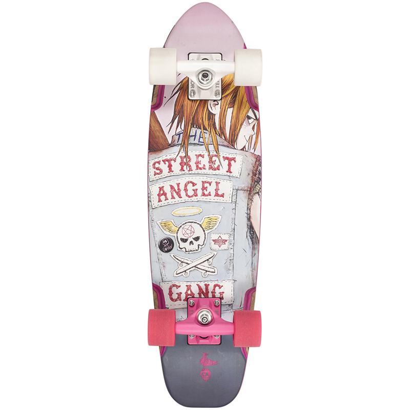 Dusters Bird Street Angel Cruiser Skateboard White/Pink 27.0