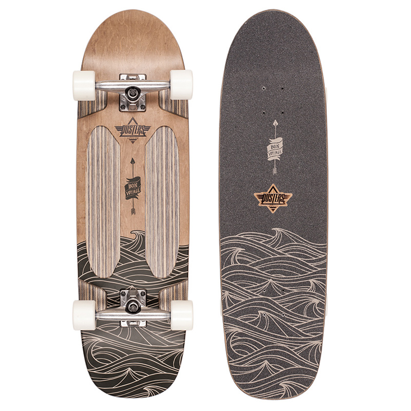 Dusters Voyage Cruiser Skateboard Brown/Kryptonics White/ Blue 33.0