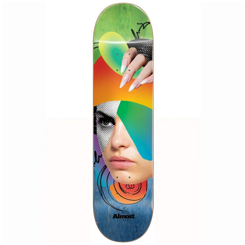 Almost Face Collage R7 Skateboard Deck Blue/Green 8.25
