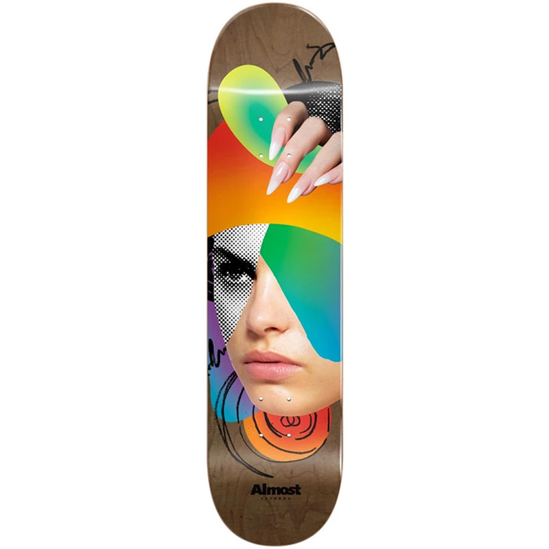 Almost Face Collage R7 Skateboard Deck Brown 8.25