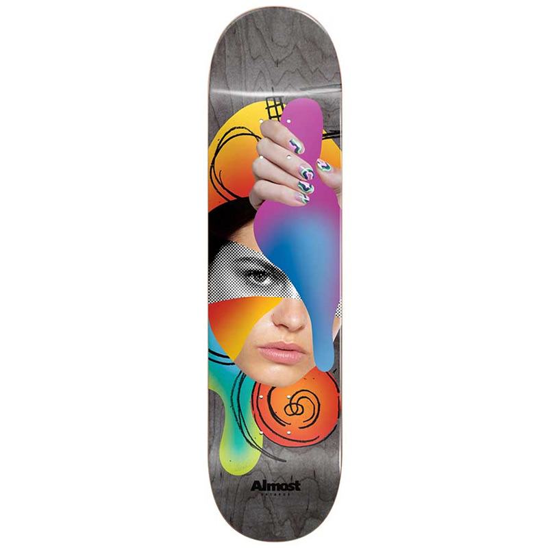 Almost Face Collage R7 Skateboard Deck Grey 8.5