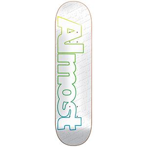 Almost Faded Outline Hybrid Skateboard Deck White 7.75