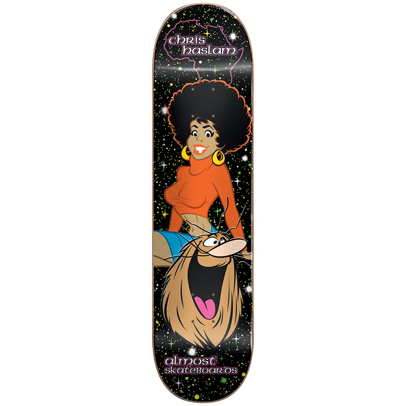 Almost Haslam Caveman Blacklight R7 Haslam Skateboard Deck 8.375