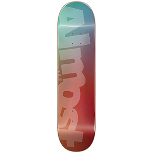 Almost Side Pipe Blurry HYB Skateboard Deck Teal/Cardinal 8.25