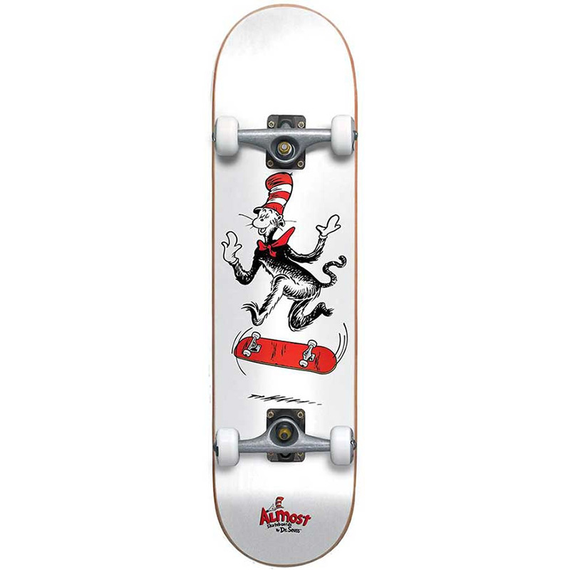 Almost X Dr Seuss Cat Tre Premium Complete Skateboard White 7.75