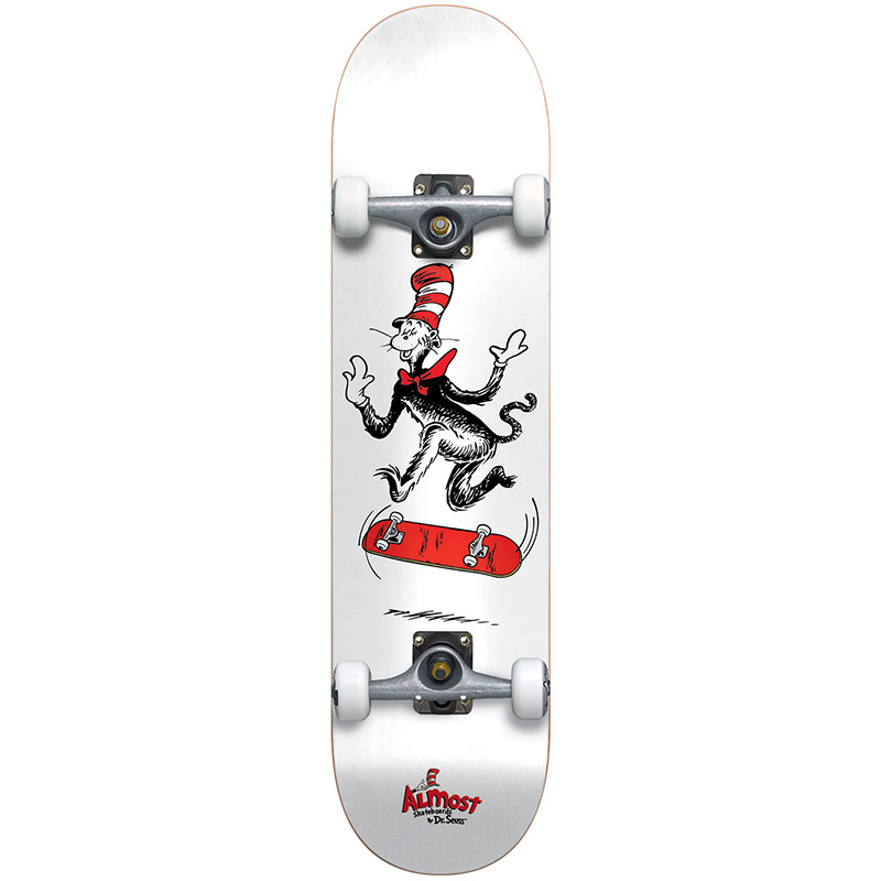 Almost X Dr Seuss Cat Tre Youth Premium Complete Skateboard White 7.375