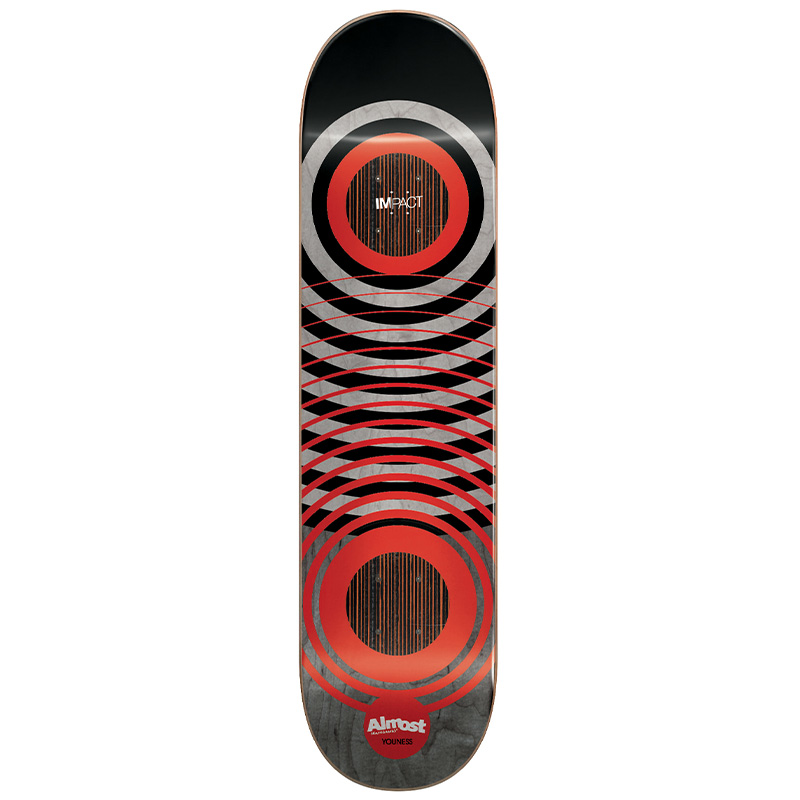 Almost Youness Red Rings Impact Skateboard Deck 8.25