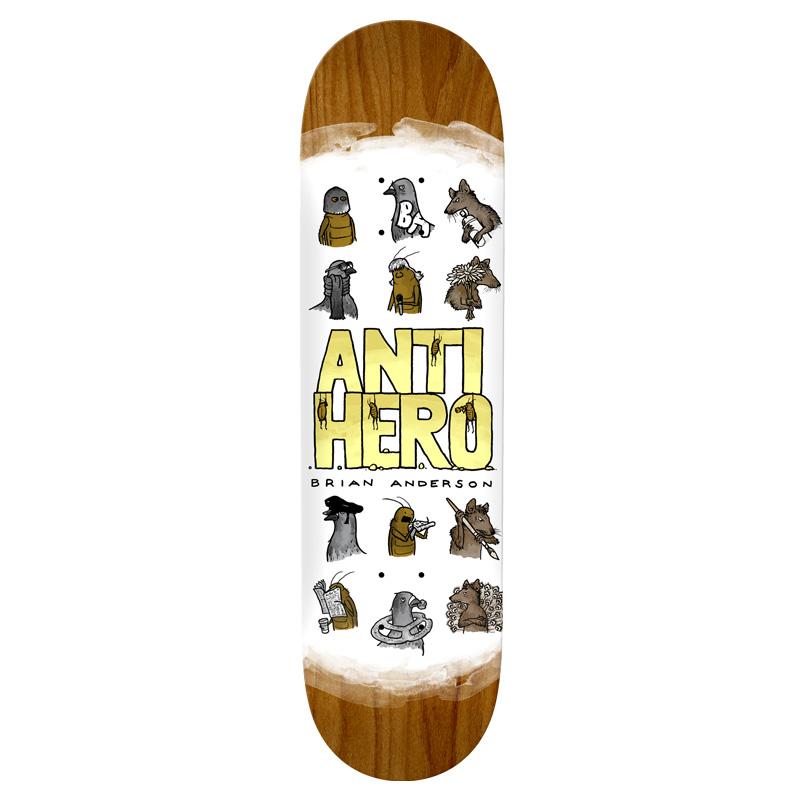 Anti Hero B.A. Usual Suspects Skateboard Deck White 8.75