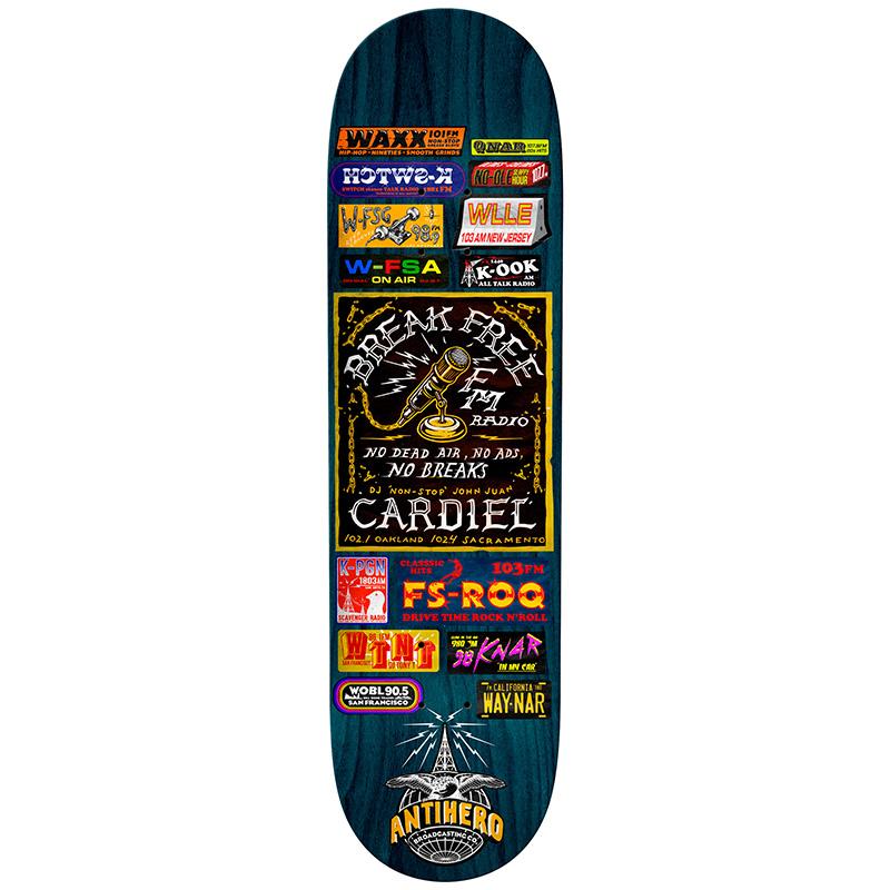 Anti Hero Cardiel Broadcasting Skateboard Deck Multi 8.62