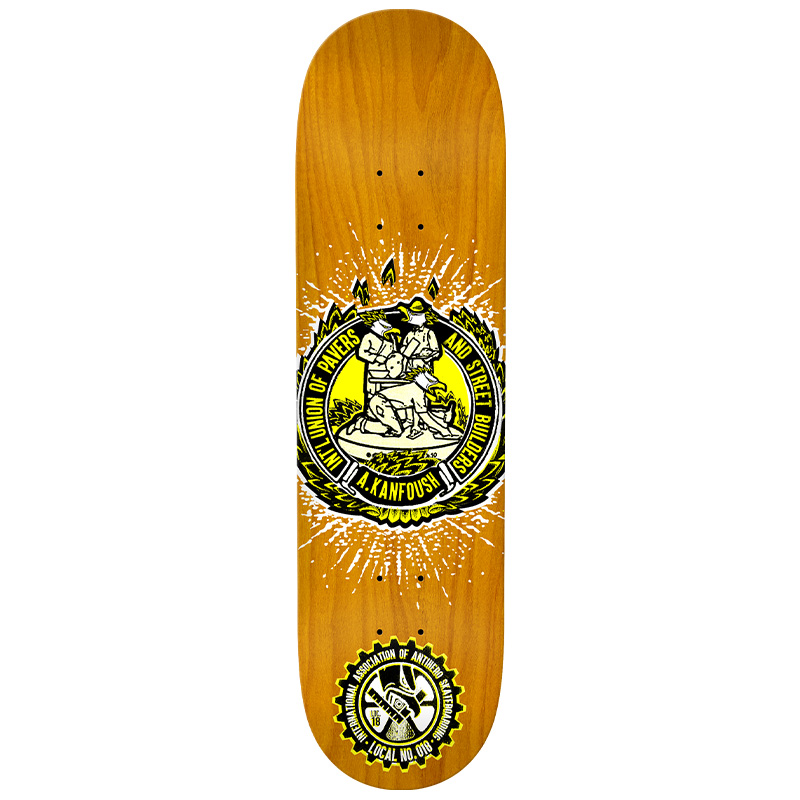 Anti Hero Kanfoush Local 18 Union Skateboard Deck Assorted Veneer 8.38