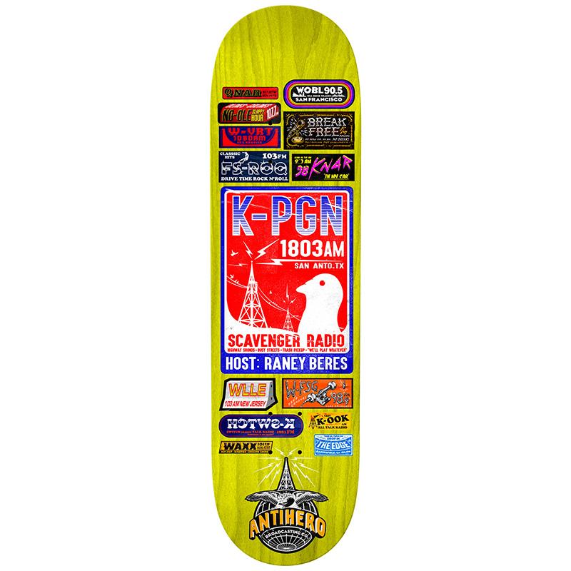 Anti Hero Raney Broadcasting Skateboard Deck Multi 8.06