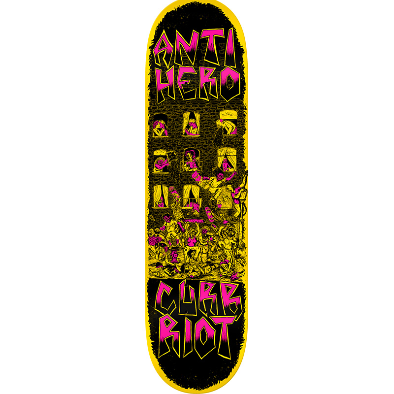 Anti Hero Team Curb Riot Skateboard Deck Pink 8.5