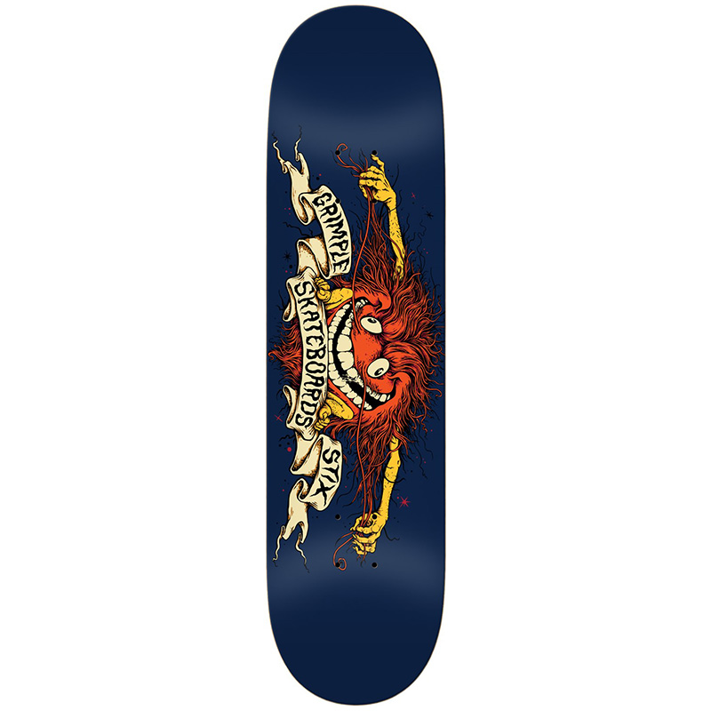Anti Hero Team Grimple Stix Collab Skateboard Deck Dark Blue 8.5