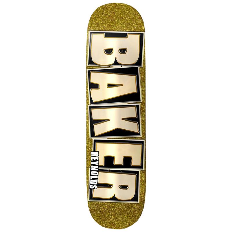 Baker AR Brand Name Glitter Skateboard Deck Gold 8.1
