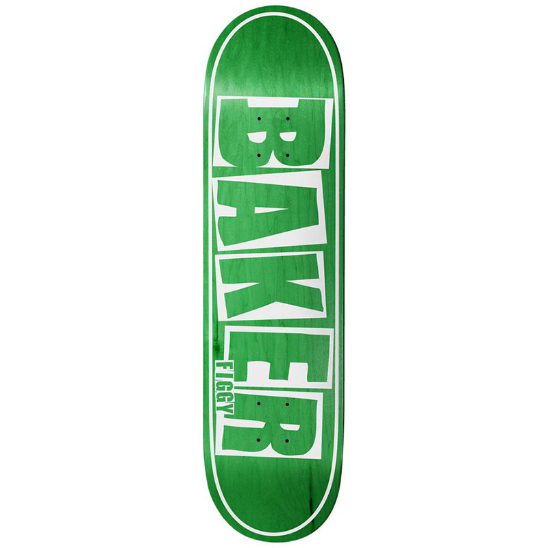 Baker Figgy Brand Name Skateboard Deck Green Veneer 8.25