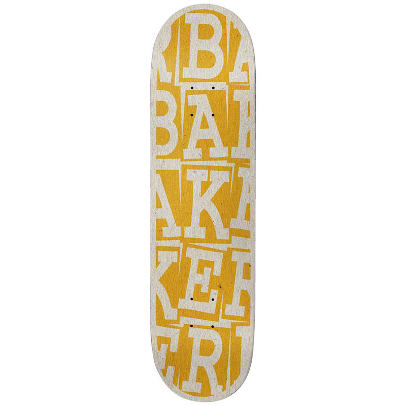 Baker Riley Hawk Ribbon Stack Skateboard Deck B2 Yellow 8.25