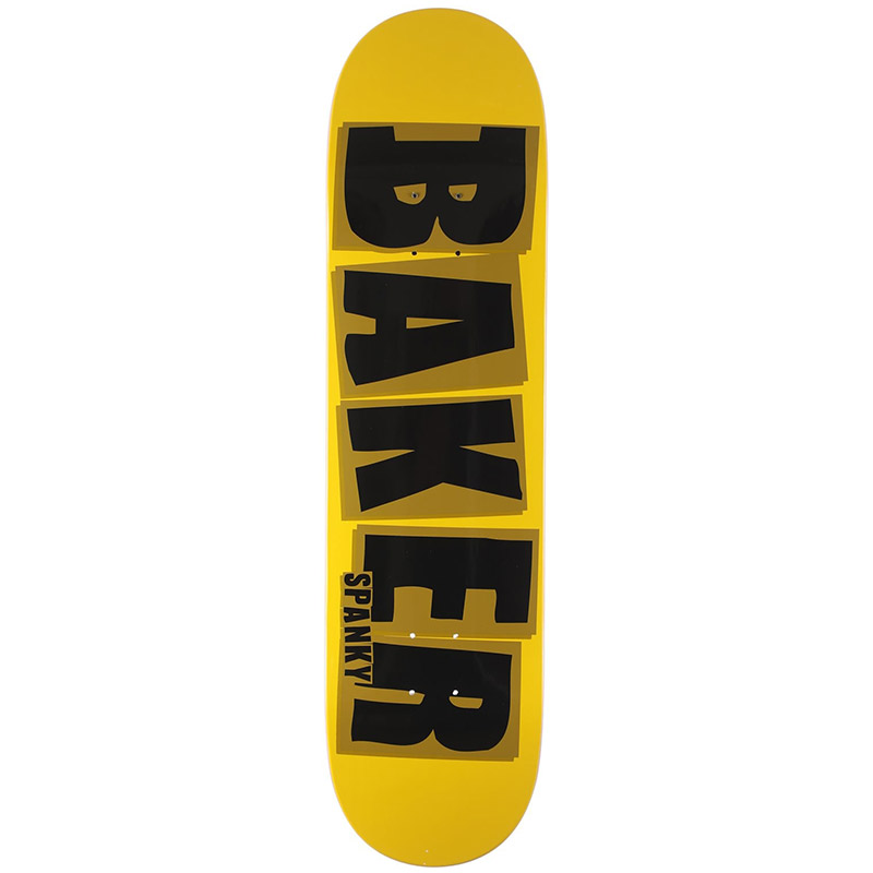 Baker Spanky Brand Name Skateboard Deck Yellow/Black 8.25