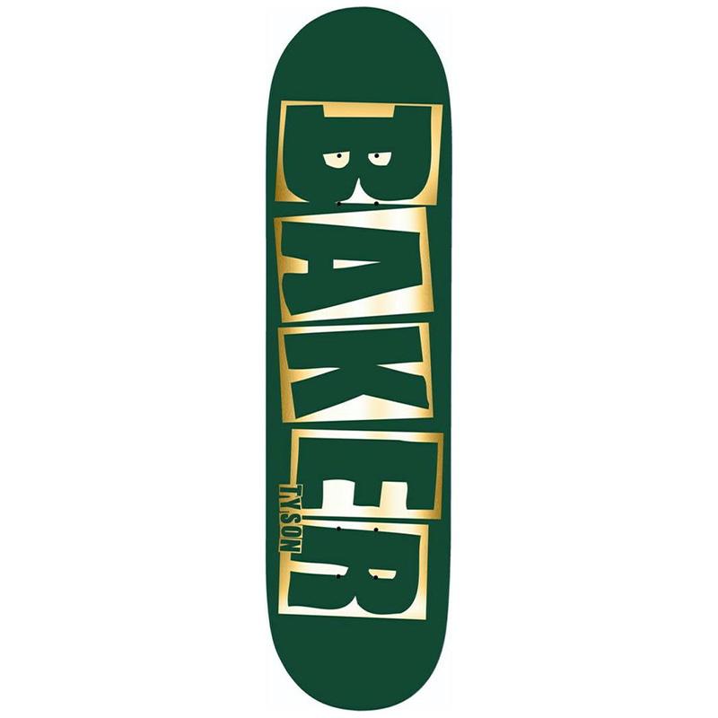 Baker Tyson Peterson Brand Name Skateboard Deck Green/Foil B2 8.0