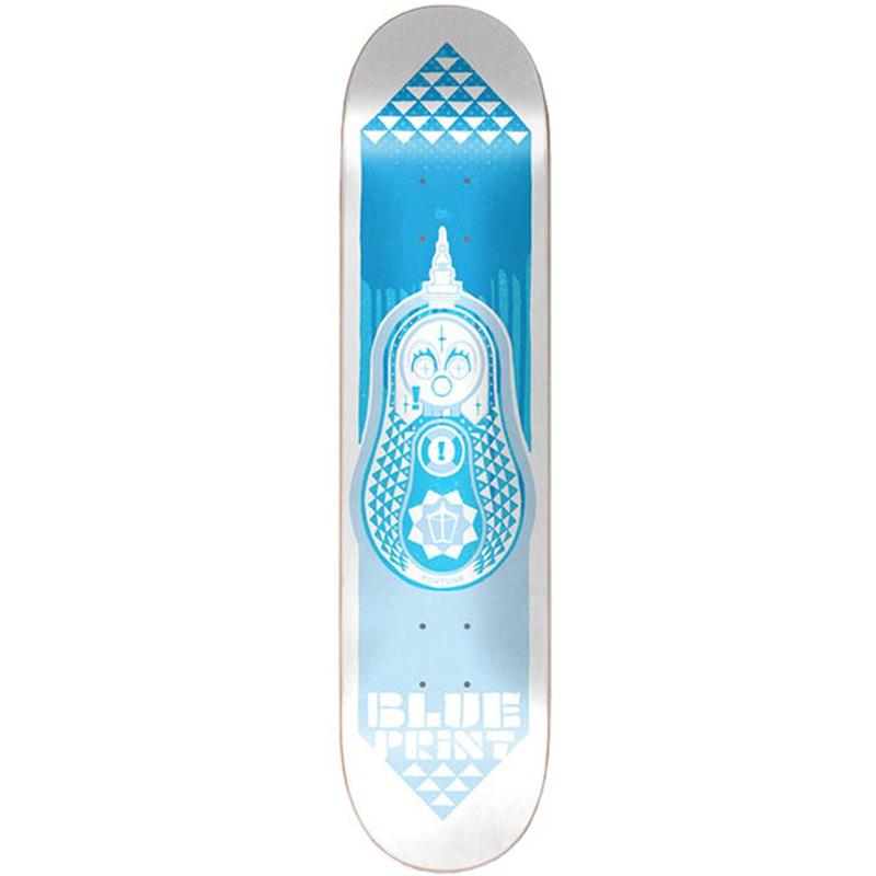 Blue Print Babushka Skateboard Deck Blue Tonal 8.125