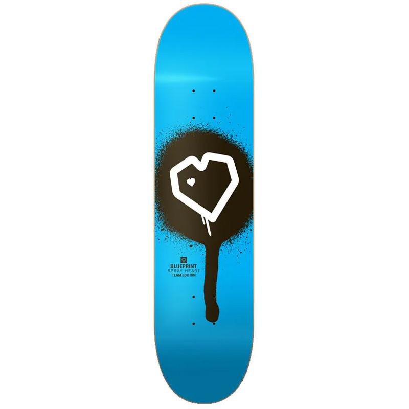 Blueprint Spray Heart Skateboard Deck Blue 8.0