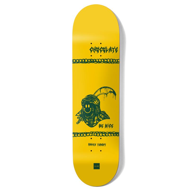 Chocolate Tershy Be Nice One Off Skateboarde Deck Yellow 8.5