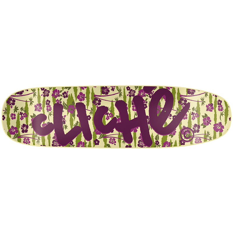 Cliche Handwritten Aloha Purple/Green Cruiser Skateboard Deck 8.75