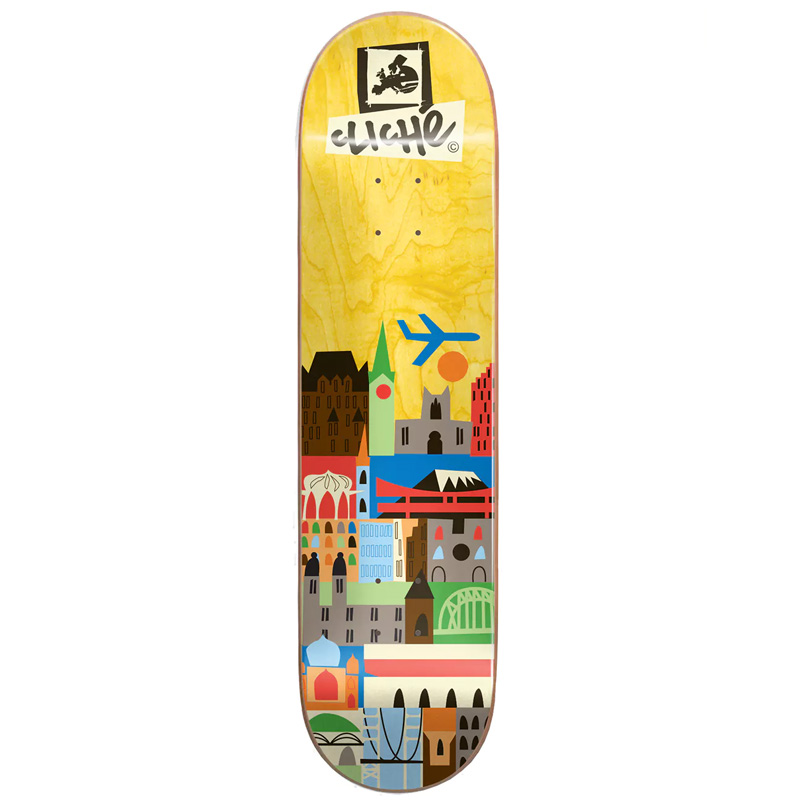 Cliché Travel RHM Skateboard Deck Yellow 8.0