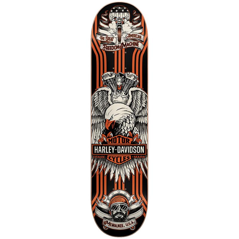 Darkstar Harley Davidson Eagle Lines HYB Skateboard Deck Orange 8.125