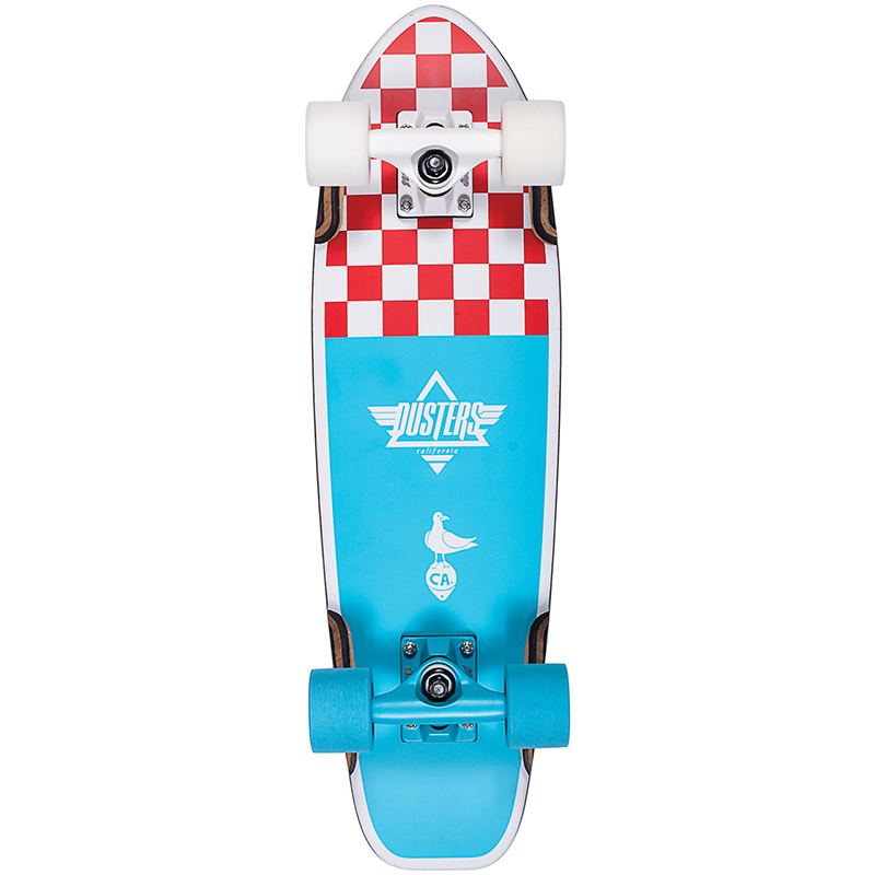 Dusters Bird Checker Cruiser Skateboard Blue/Red 25.0