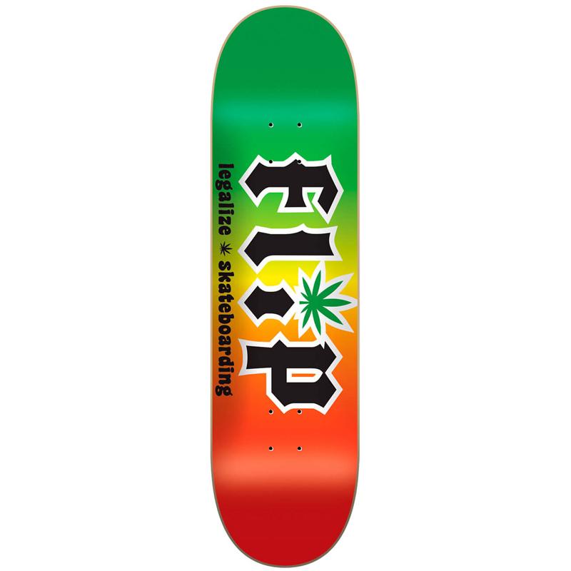 Flip HKD Legalize Skateboard Deck Rasta 8.25