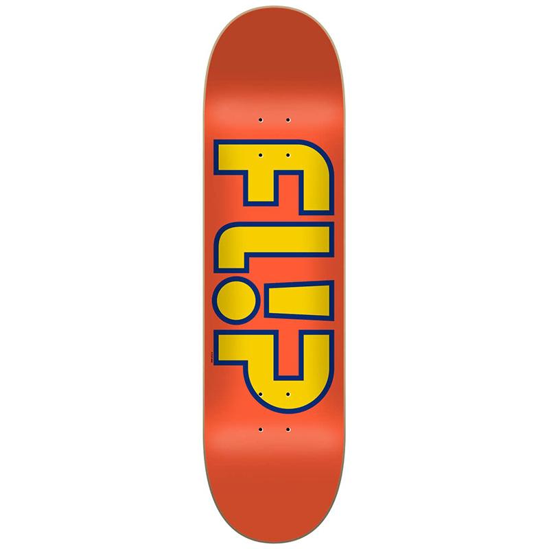 Flip Team Outlined Skateboard Deck Orange 7.75