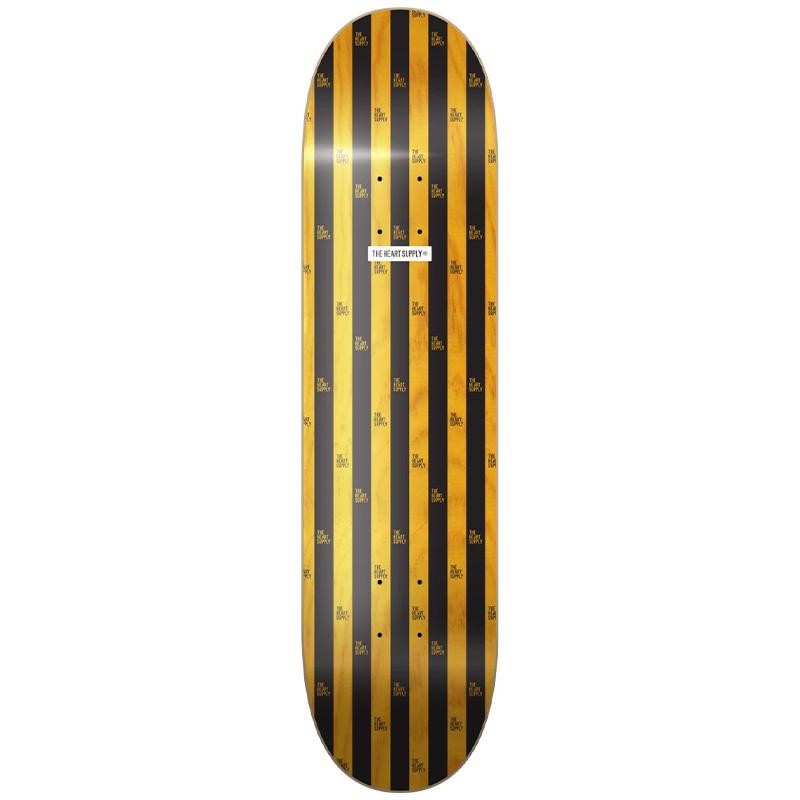 Heart Supply Luxury Stripes Skateboard Deck Black/Yellow 8.0
