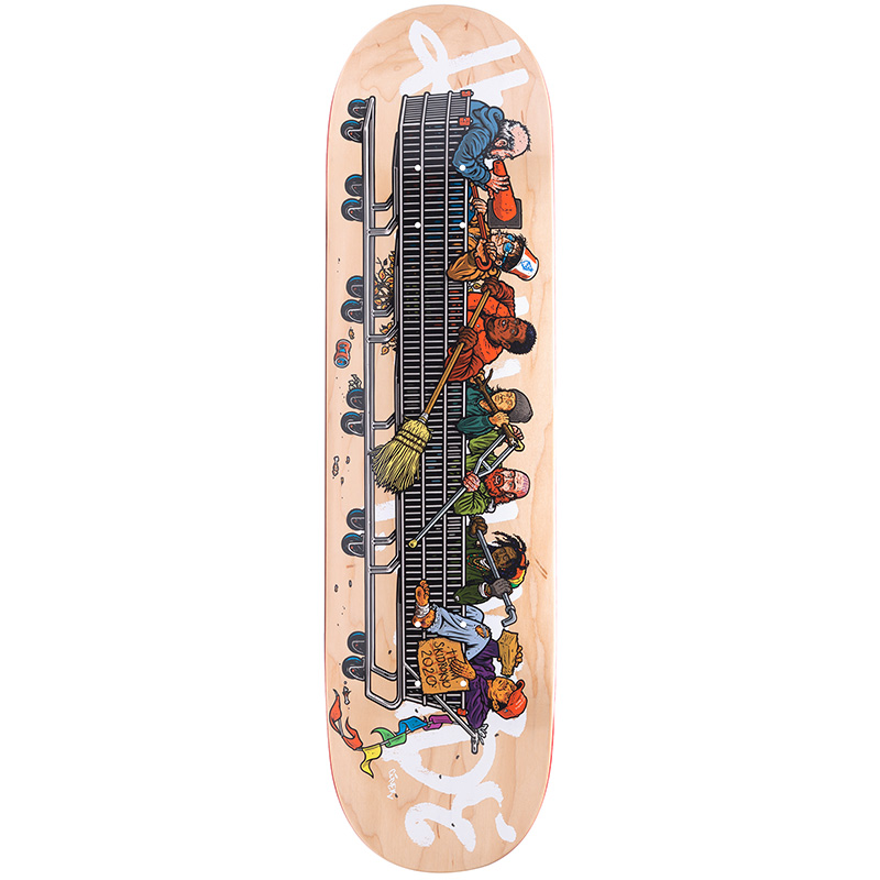HUF Skid Row Team Skateboard Deck Natural 8 25