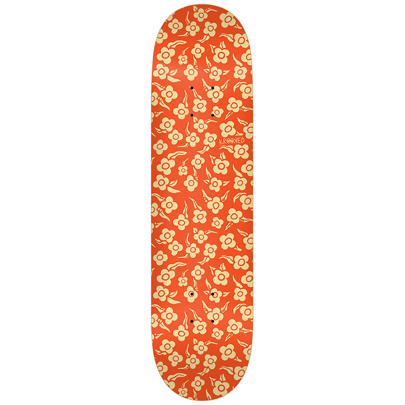 Krooked Flowers Skateboard Deck Orange 8.06