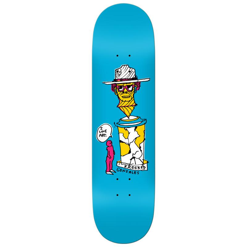 Krooked Gonz Art Lover Skateboard Deck Blue 8.38