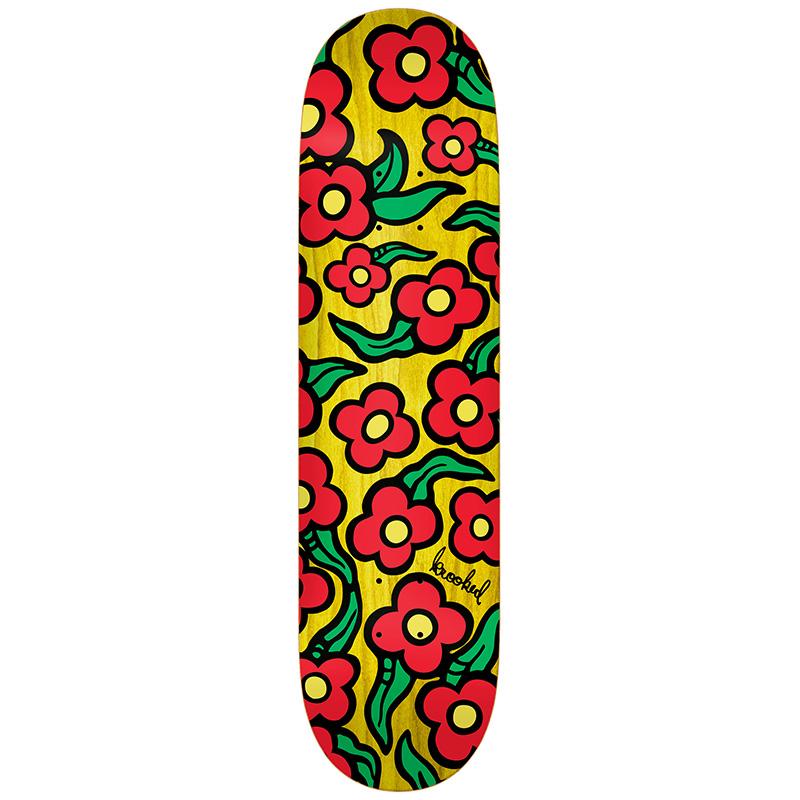 Krooked Team Wild Style Flowers Skateboard Deck 8.25
