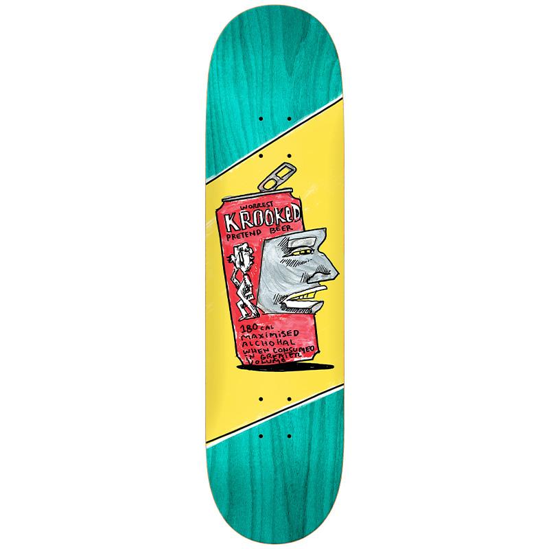 Krooked Worrest Pretend Beer Skateboard Deck Yellow 8.75